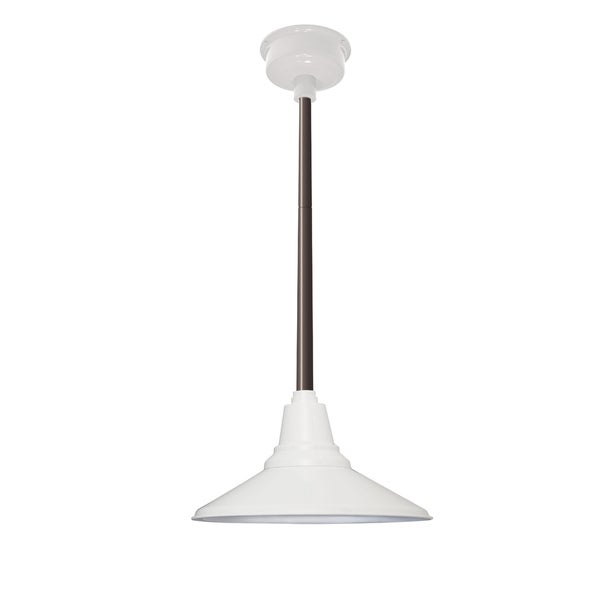 "18"" Calla LED Pendant Light in White with Mahogany Bronze Downrod"