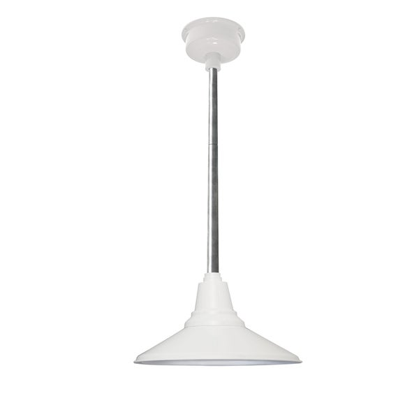 "18"" Calla LED Pendant Light in White with Galvanized Silver Downrod"