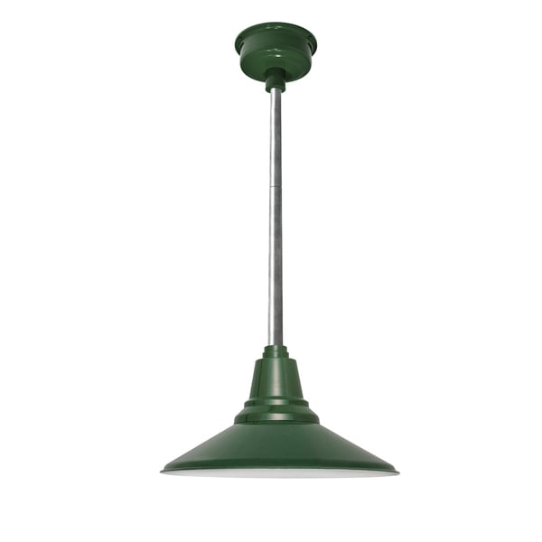 Cocoweb Calla Vintage Green Metal 18-inch LED Pendant Light with Galvanized Silvertone Downrod