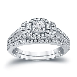 Auriya 14k 3/4ct TDW Halo Diamond Wedding Ring Sets (H-I, I1-I2)