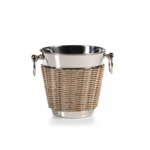 """Bahama"" 8"" Tall Cane and Steel Ice Bucket / Wine Cooler"