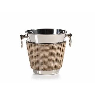 """Bahama"" 8"" Tall Cane and Steel Ice Bucket / Wine Cooler"