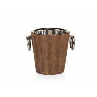 """Hagron"" 8"" Tall Metal Ice Bucket / Wine Bucket, Reclaimed Wood Cover"