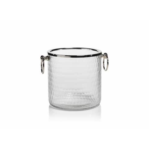 """6"""" Tall Hammered Glass Ice Bucket / Wine Cooler"""