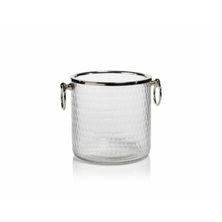 "6"" Tall Hammered Glass Ice Bucket / Wine Cooler"