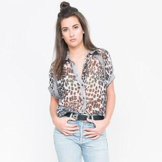 Qi Women's Thalassa Printed Short-sleeve Button-down Shirt