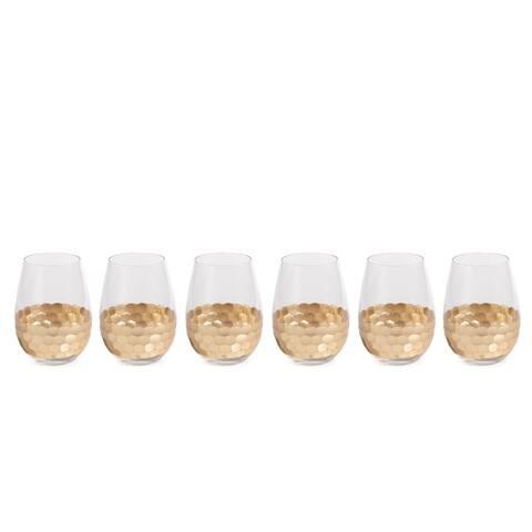 """Vitorrio"" Wine Glass, Stemless Gold (Set of 6)"