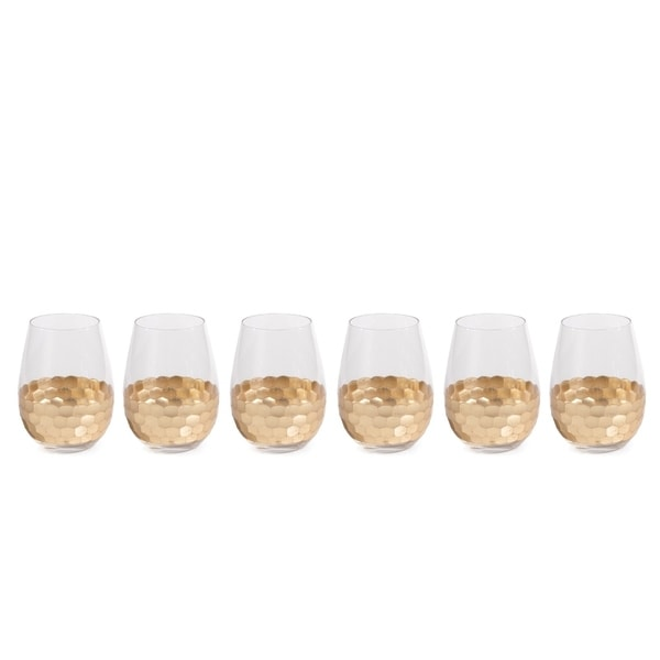 """Vitorrio"" Wine Glass, Stemless Gold (Set of 6)"