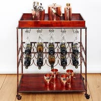 Strick & Bolton Riza Antique Copper Wine Serving Cart