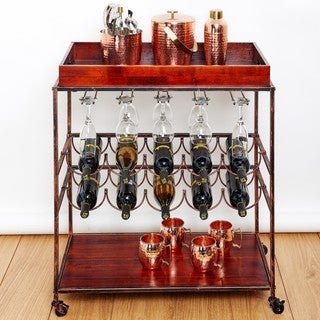 Old Dutch Avalon Antique Copper Rubberwood Wine Serving Cart