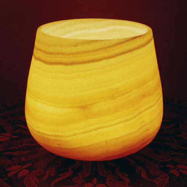 Handmade Pear Shaped Alabaster Votive (Egypt)