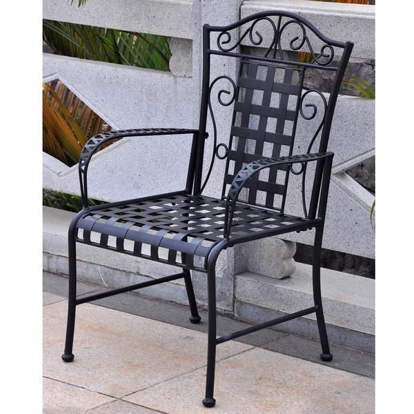 International Caravan Iron Lattice Lawn Chairs (Set of 2)