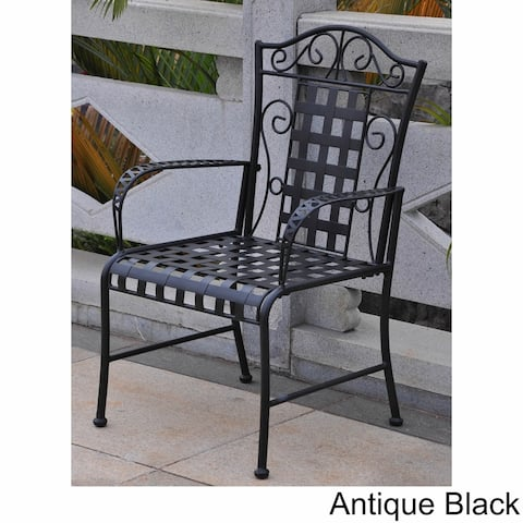International Caravan Mandalay Iron Patio Dining Chair (Set of 2)
