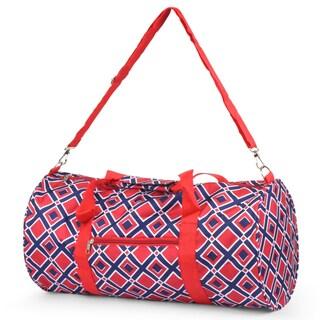 Zodaca Navy/ Red Times Square Lightweight Classic Style Handbag Duffel Travel Camping Hiking Zipper Shoulder Bag