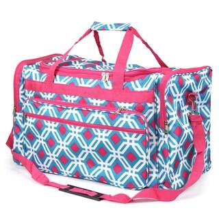 Zodaca Blue Graphic Large Duffel Travel Bag Overnight Weekend Handbag Camping Hiking Zipper Shoulder Carry Bag