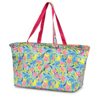 Zodaca Paisley Green Pink Large All Purpose Stylish Open Top Handbag Laundry Shopping Utility Tote Carry Bag