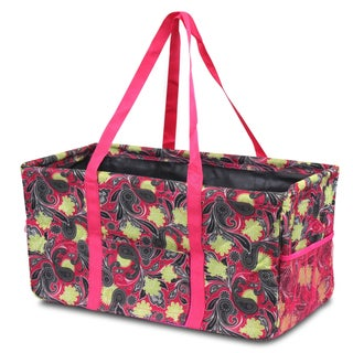 Zodaca Yellow/ Pink Paisley All Purpose Wireframe Water Resistant Travel Handbag Laundry Shopping Utility Tote Bag
