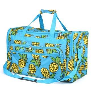 Zodaca Pineapple Large Duffel Travel Bag Overnight Weekend Handbag Camping Hiking Zipper Shoulder Carry Bag
