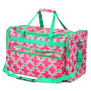 Zodaca Pink Quatrifoil Large Duffel Travel Bag Overnight Weekend Handbag Camping Hiking Zipper Shoulder Carry Bag