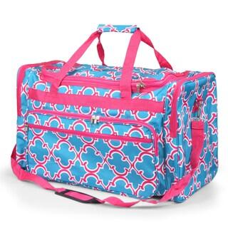 Zodaca Blue Quatrifoil Large Duffel Travel Bag Overnight Weekend Handbag Camping Hiking Zipper Shoulder Carry Bag