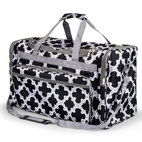 Zodaca Black Quatrifoil Large Duffel Travel Bag Overnight Weekend Handbag Camping Hiking Zipper Shoulder Carry Bag