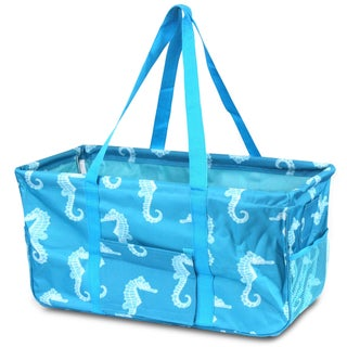 Zodaca Turquoise Seahorse All Purpose Wireframe Water Resistant Travel Handbag Laundry Shopping Utility Tote Carry Bag