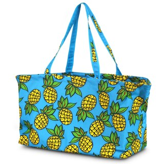 Zodaca Pineapple Large All Purpose Stylish Magnetic Clasp Open Top Handbag Laundry Shopping Utility Tote Carry Bag