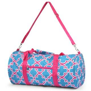 Zodaca Blue Quatrefoil Lightweight Classic Style Handbag Duffel Travel Camping Hiking Zipper Shoulder Carry Bag