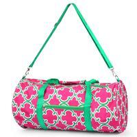 Zodaca Pink Quatrefoil Lightweight Classic Style Handbag Duffel Travel Camping Hiking Zipper Shoulder Carry Bag