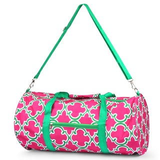 Zodaca Pink Quatrefoil Lightweight Classic Style Handbag Duffel Travel Camping Hiking Zipper Shoulder Carry Bag