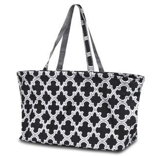 Zodaca Quatrefoil Black Large All Purpose Stylish Open Top Handbag Laundry Shopping Utility Tote Carry Bag