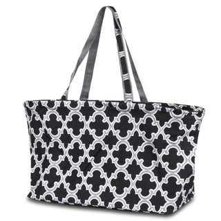 Zodaca Quatrefoil Black Large All Purpose Stylish Open Top Handbag Laundry Shopping Utility Tote Carry Bag