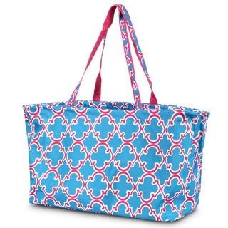 Zodaca Quatrefoil Blue Large All Purpose Stylish Open Top Handbag Laundry Shopping Utility Tote Carry Bag