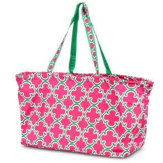 Zodaca Quatrefoil Pink Large All Purpose Stylish Open Top Handbag Laundry Shopping Utility Tote Carry Bag