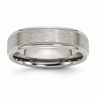 Titanium Ridged Edge 6mm Satin and Polished Band - Black