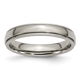 Titanium Grooved and Beaded Edge 4mm Polished Band