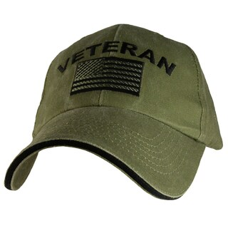 Military Veteran US Flag Cap Green