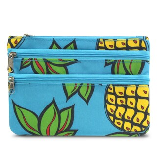 Zodaca Blue Pineapple Lightweight Travel Makeup Cosmetic Bag Case Multifunction Pouch Toiletry Organizer