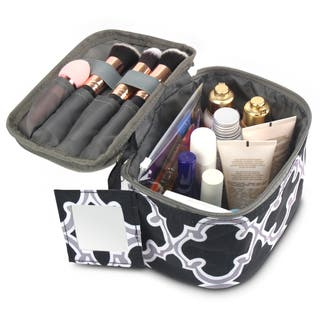 Zodaca Black Quatrefoil Lightweight Travel Makeup Cosmetic Bag Case Multifunction Pouch Toiletry Organizer|https://ak1.ostkcdn.com/images/products/16677428/P22997398.jpg?impolicy=medium