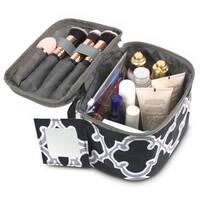 Zodaca Black Quatrefoil Lightweight Travel Makeup Cosmetic Bag Case Multifunction Pouch Toiletry Organizer