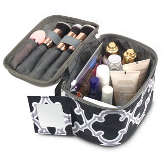 Zodaca Black Quatrefoil Lightweight Travel Makeup Cosmetic Bag Case Multifunction Pouch Toiletry Organizer