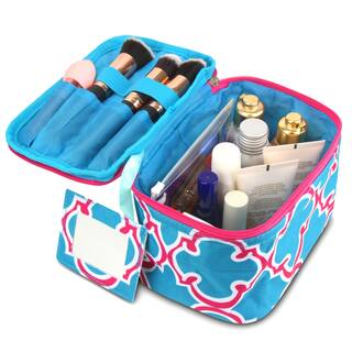 Zodaca Blue Quatrefoil Lightweight Makeup Travel Cosmetic Bag Case Multifunction Pouch Toiletry Organizer|https://ak1.ostkcdn.com/images/products/16677429/P22997399.jpg?impolicy=medium