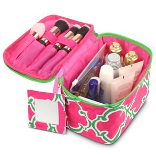 Zodaca Pink Quatrefoil Lightweight Makeup Travel Cosmetic Bag Case Multifunction Pouch Toiletry Organizer