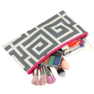 Zodaca Greek Key Grey Pink Pencil Case Toiletry Holder Cosmetic Bag Travel Makeup Zip Storage Organizer