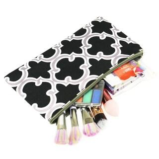 Zodaca Quatrefoil Black Pencil Case Toiletry Holder Cosmetic Bag Travel Makeup Zip Storage Organizer