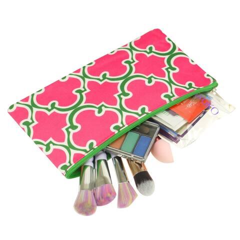 Zodaca Quaterfoil Pink Pencil Case Toiletry Holder Cosmetic Bag Travel Makeup Zip Storage Organizer