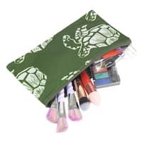 Zodaca Green Turtle Pencil Case Toiletry Holder Cosmetic Bag Travel Makeup Zip Storage Organizer