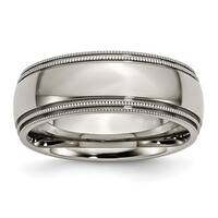 Titanium Grooved and Beaded Edge 8mm Polished Band - Black