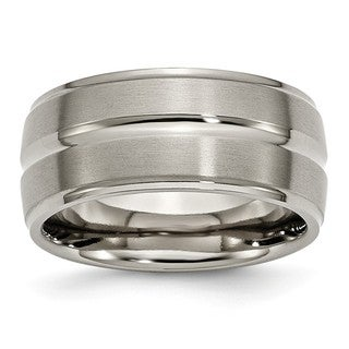 Titanium Grooved Ridged Edge 10mm Brushed and Polished Band - Black