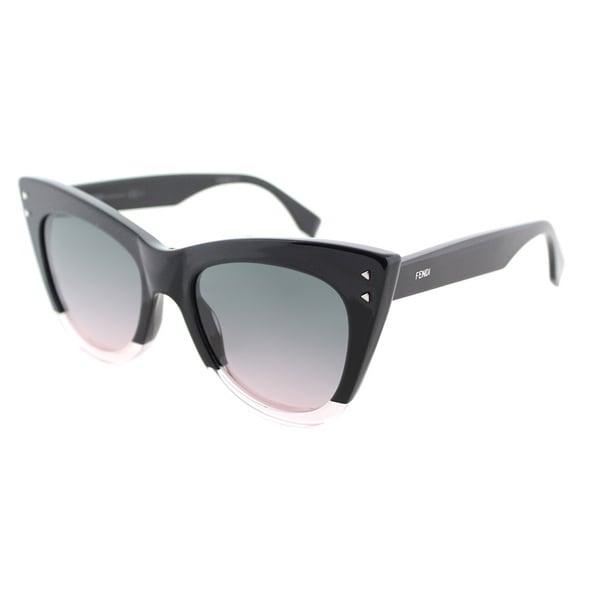 ecf8d6d06728 Fendi FF 0238 3H2 Color Block Black Crystal Light Pink Plastic Cat-Eye  Sunglasses Light